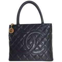 Chanel Caviar Leather Medallion with Gold Hardware in Black Shoulder Bag