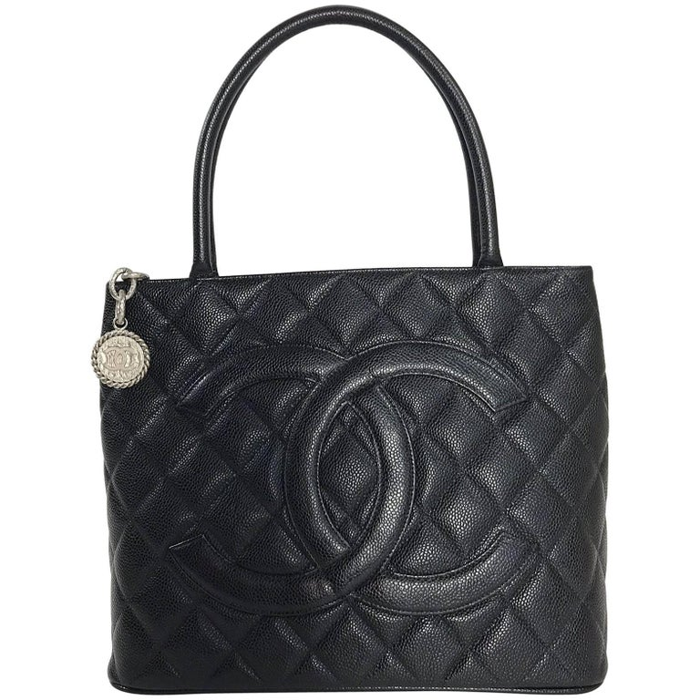 Chanel Caviar Leather Medallion with Silver Hardware in Black Shoulder Bag