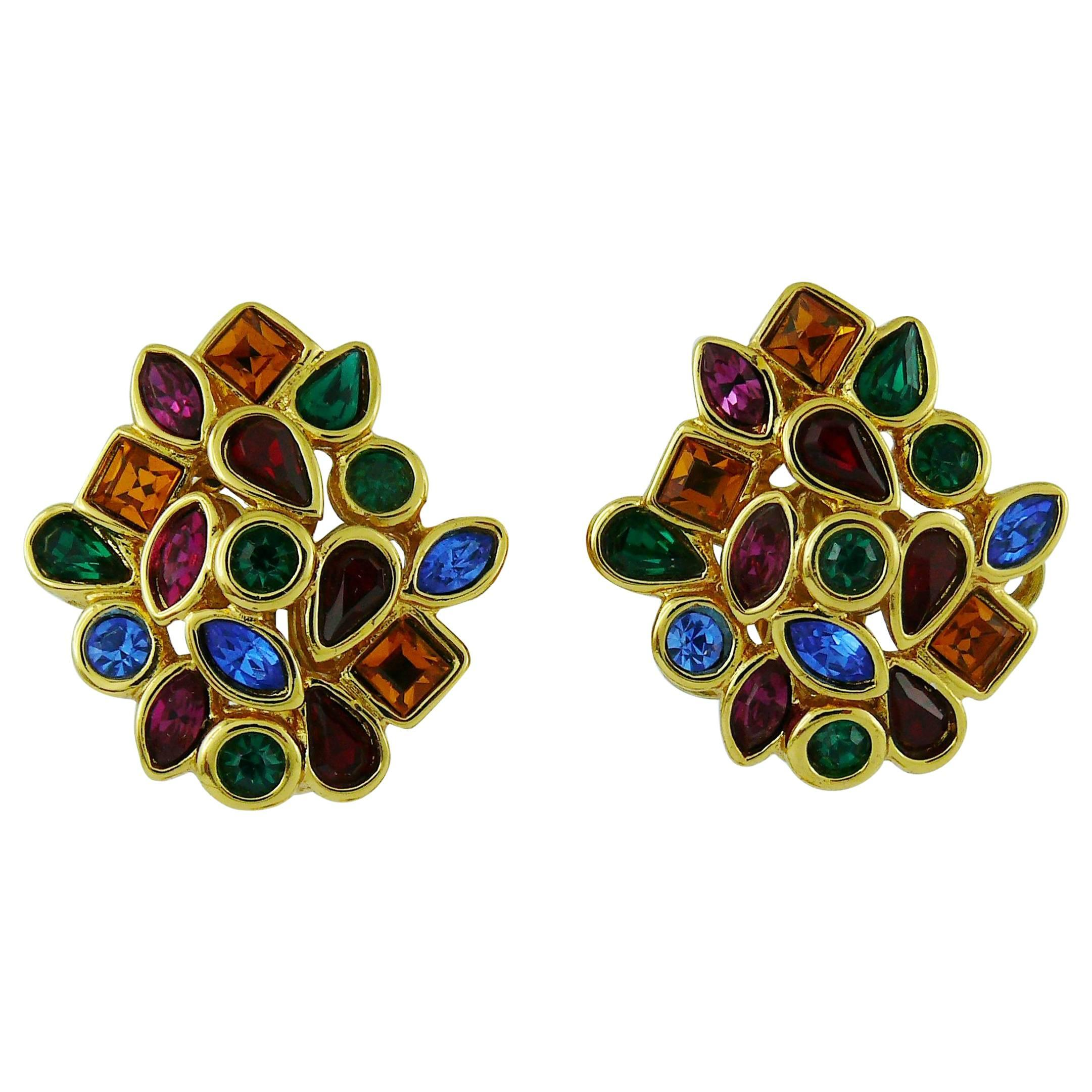 8d04a0e6a27 Yves Saint Laurent YSL Vintage Tutti Frutti Crystal Clip-On Earrings at  1stdibs
