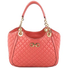 Salvatore Ferragamo Betulla Chain Tote Quilted Leather Small