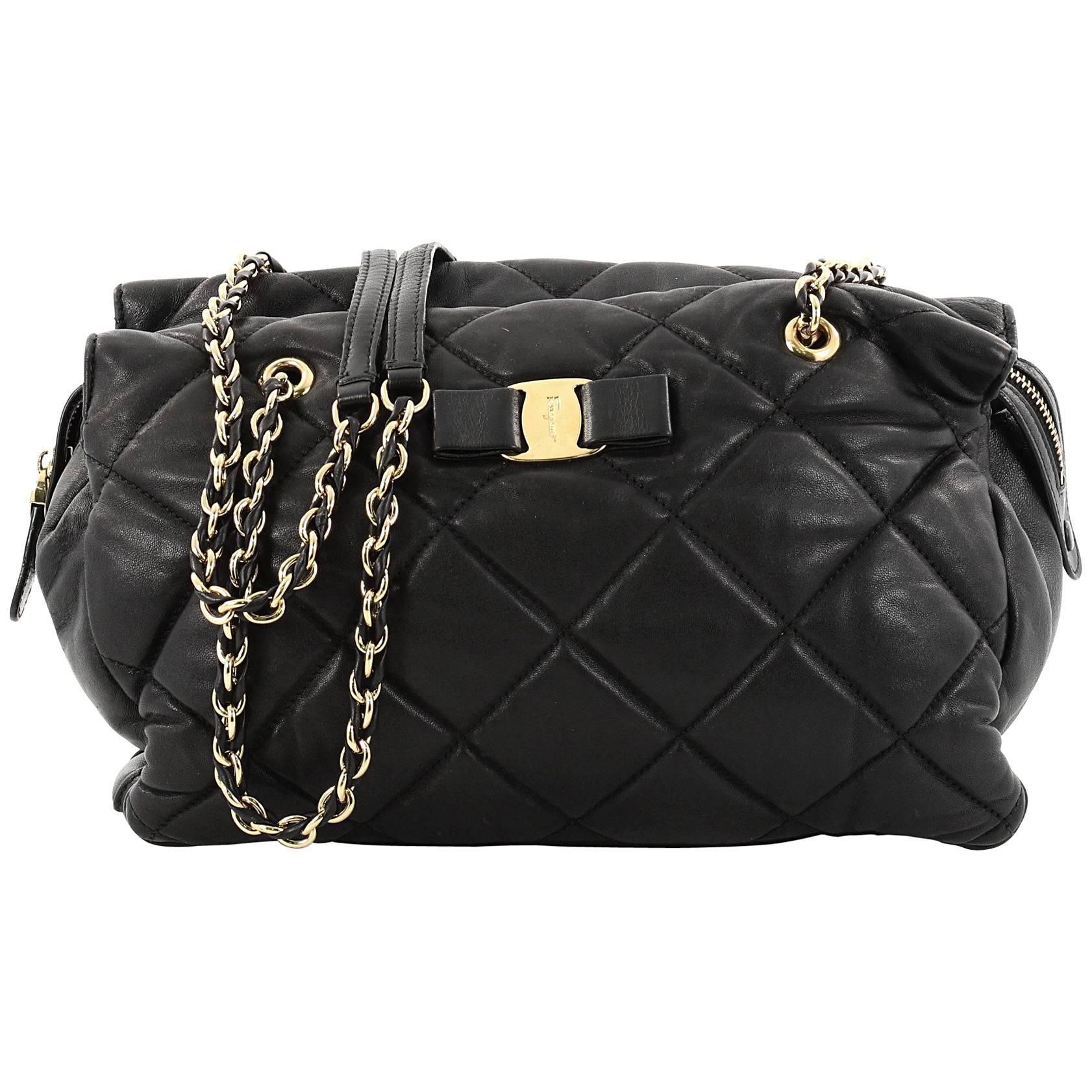 e40297a10439 Salvatore Ferragamo Ginette Chain Shoulder Bag Quilted Leather Medium at  1stdibs