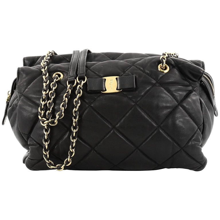 9a6c0f62ea Salvatore Ferragamo Ginette Chain Shoulder Bag Quilted Leather Medium For  Sale