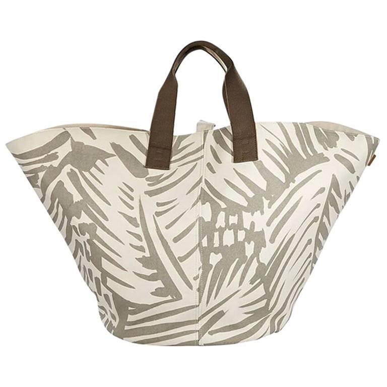 Hermes Tan and White Sac de Plage Cabas Tote Bag