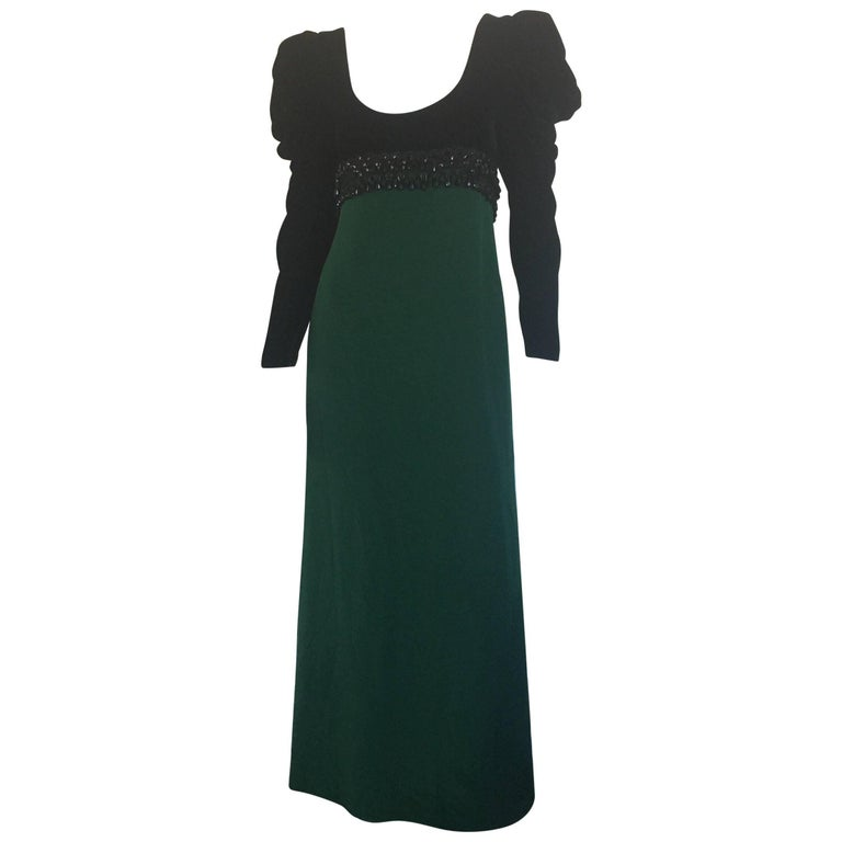 Oscar de la Renta velvet empire waist green silk gown
