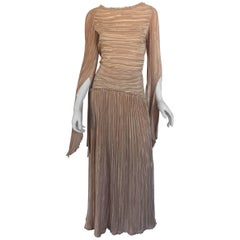 Mary McFadden nude draped sleeve pleated dress