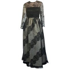 Bill Blass black and nude lace ball gown
