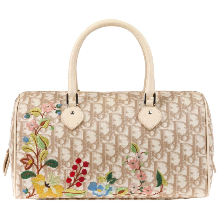 CHRISTIAN DIOR S/S 2005 Beige Diorissimo Canvas Floral Embroidered Boston Bag