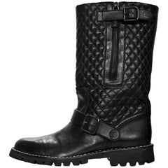 Chanel Black Quilted Leather Biker Boots Sz 40