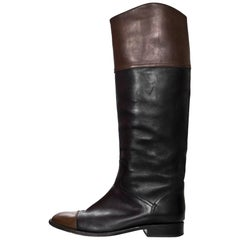 Chanel Black & Brown Leather Cap-Toe Riding Boots Sz 41