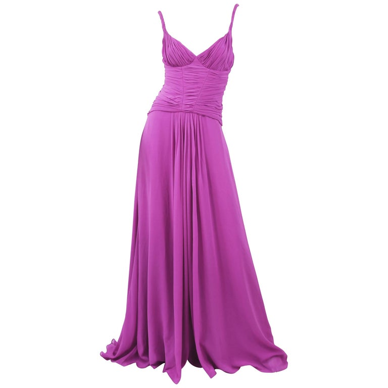 Emanuel Ungaro Long Chiffon Gown in Magenta, Size 4