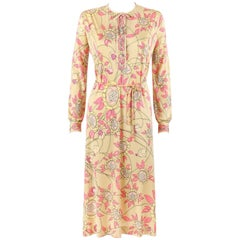EMILIO PUCCI c.1970s Beige Floral Signature Print Silk Jersey Belted Shift Dress
