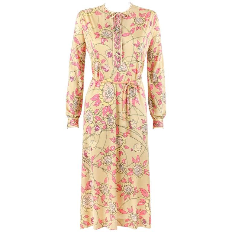 EMILIO PUCCI c.1970s Beige Floral Signature Print Silk Jersey Belted Shift Dress