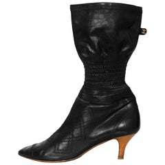 Chanel Black Quilted Stretch Boots Sz 40