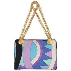 "EMILIO PUCCI c1970s ""Vivara"" Signature Print Blue Op Art Silk Chain Handle Purse"