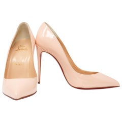 Christian Louboutin Stiletto in Light Peach Patent Leather, Size 36