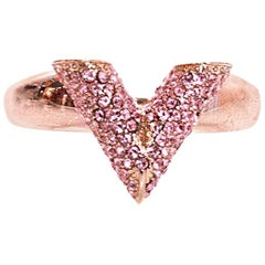 Louis Vuitton Rose Goldtone Pink Pave Crystal V Essential Ring Sz L/US7.5