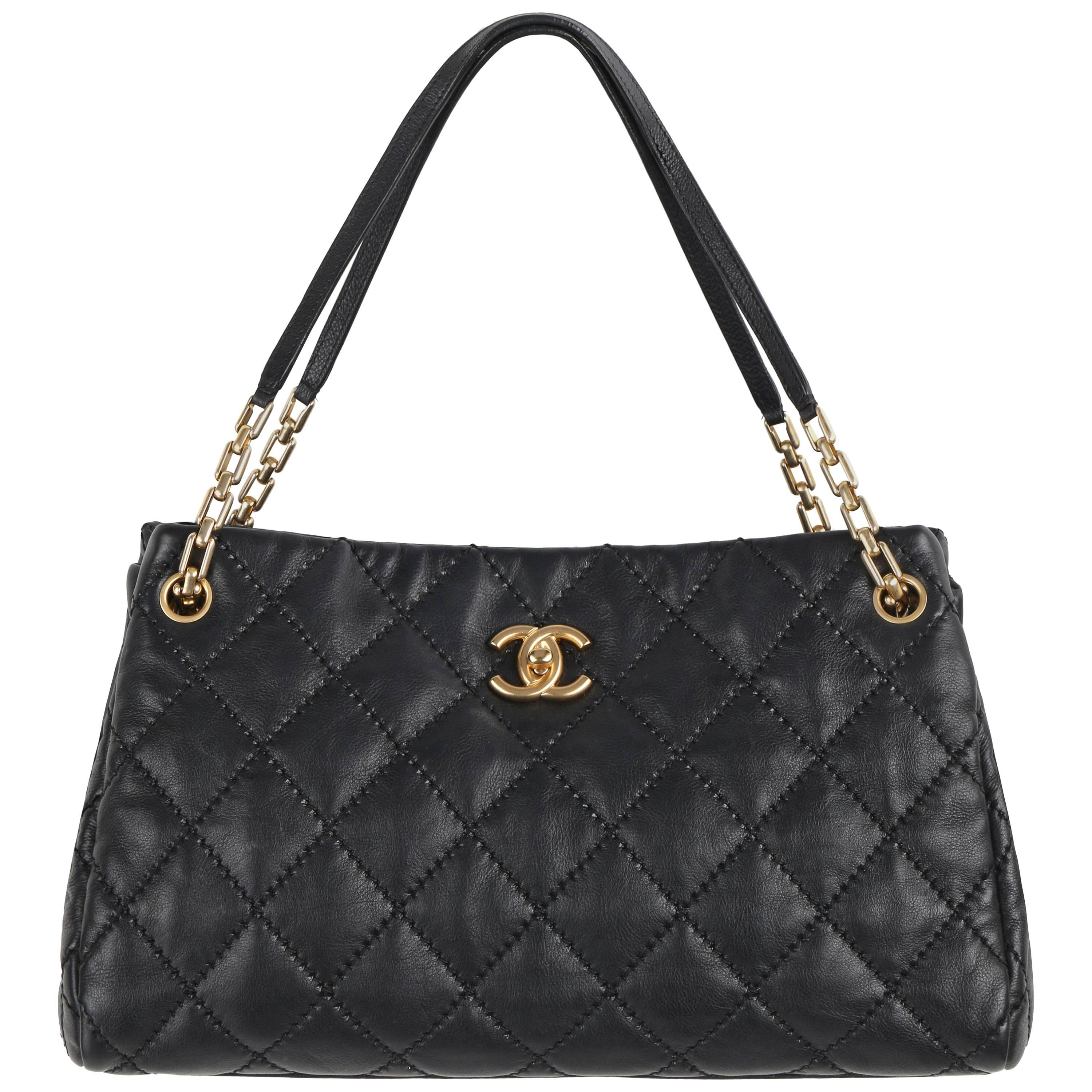 486b8231ce1c CHANEL S/S 2011 Black Quilted Leather CC Turnlock