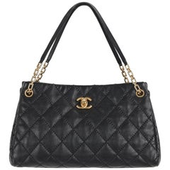 "CHANEL S/S 2011 Black Quilted Leather CC Turnlock ""Retro Chain"" Tote Bag Purse"