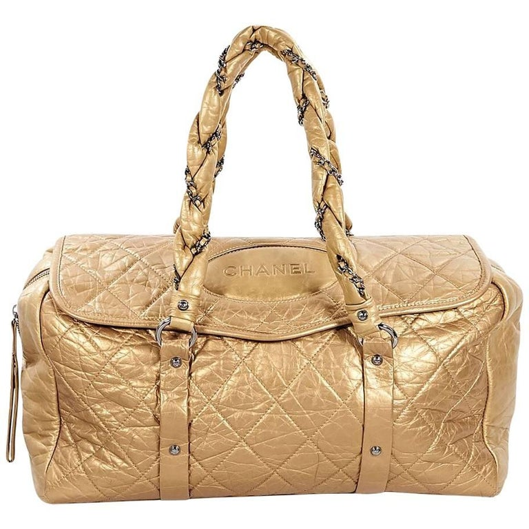 Metallic Gold Chanel Lady Braid Quilted Bag
