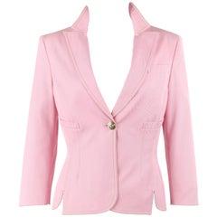 VERSACE S/S 2005 Rose Pink Denim Single Medusa Head Button Blazer Jacket NWT