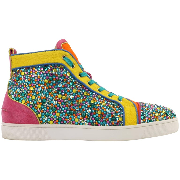 "CHRISTIAN LOUBOUTIN ""Louis Strass"" Multicolor Swarvoski Crystal Hi Top Sneakers For Sale"