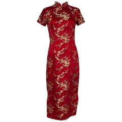 Bespoke Red Silk Brocade Qipao Cocktail Dress, 1940s