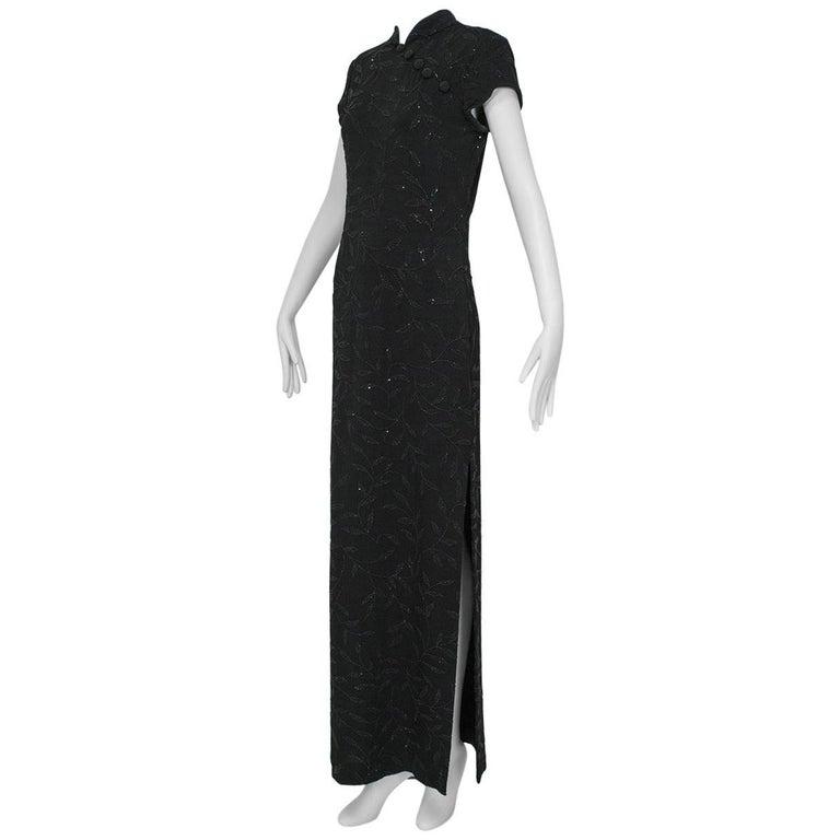 Huey Waltzer Beaded Qipao Column Gown, 1997 For Sale