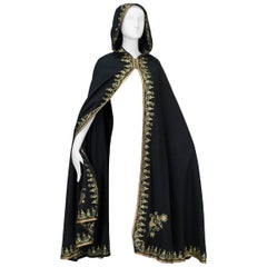 Moroccan Gold Embroidered Cloak with Tasseled Hood, 1960s