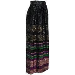 Rainbow Stripe Pavé Sequin Hostess Skirt, 1970s