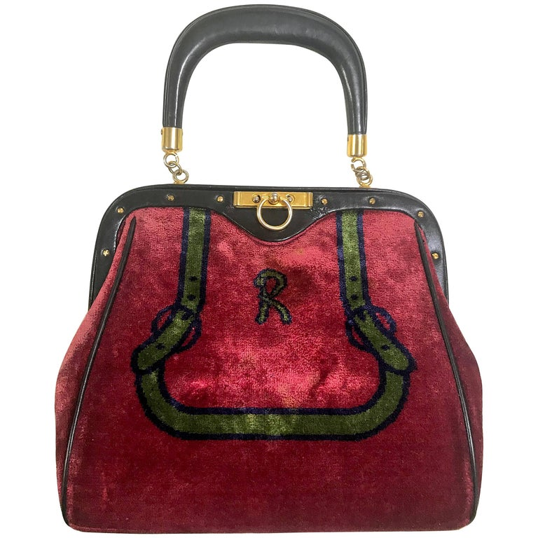 Roberta di Camerino vintage red and green navy bow and logo weaved chenille bag