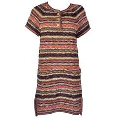 Chanel 2018 Resort  Runway Multi-color Linen-Cotton Knit Dress FR38 New