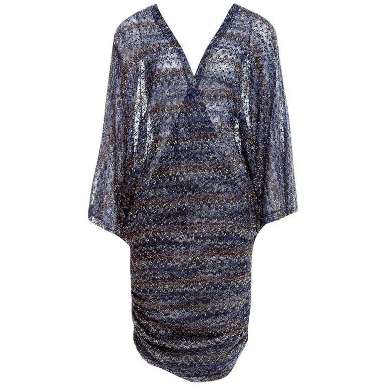 Stunning Missoni Midnight Blue Lurex Kaftan Mini Dress