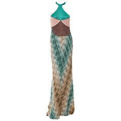 Gorgeous Missoni Metallic Lurex Crochet Knit Evening Dress Gown with Cardigan