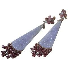 Lorraine Schwartz Large Jade, Pink Gemstone And Diamond Earrings