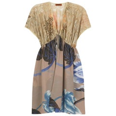 Stunning Missoni Gold Metallic Crochet Knit Floral Print Kaftan Tunic Dress