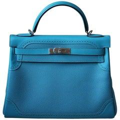 Hermès 32cm Turquoise Ghillies Togo With Palladium Hardware Kelly Bag