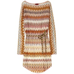 Missoni Signature Zigzag Crochet Knit Mini Dress with Belt