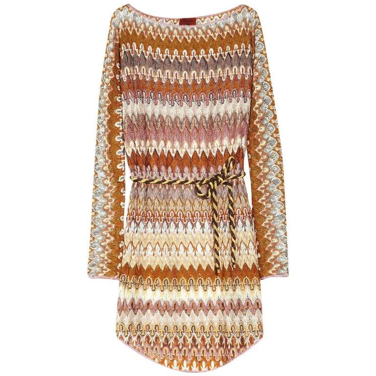 Missoni Signature Zigzag Crochet Knit Mini Dress with Belt