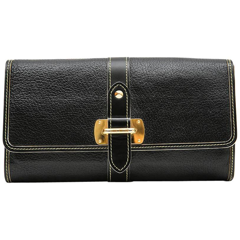 LOUIS VUITTON Clutch in Black Grained Leather with Saddle Stitching