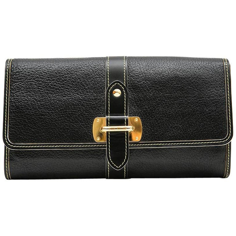 LOUIS VUITTON Clutch in Black Grained Leather with Saddle Stitching For Sale