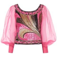 Pucci pink sequin top with organza sleeves, circa 1968