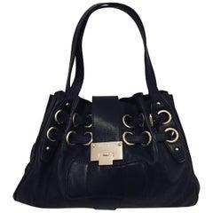 Jimmy Choo Black Leather Gathered Shoulder Bucket Bag With Grommets