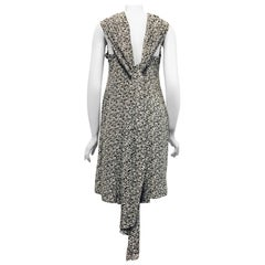 City Chanel Black and White City Print Silk Dress with Diverse Usage Scarf