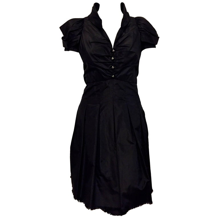 Crisp Chanel Black Silk Short Sleeve Dress Ruched Front With Four