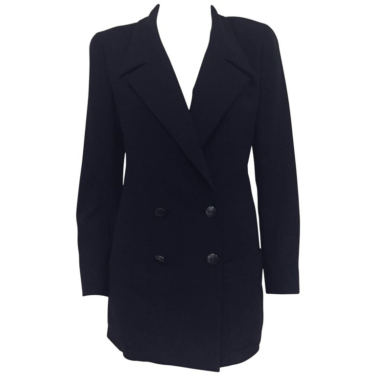 Chanel Boutique Black Wool Double Breasted Jacket With Silver Logo Buttons