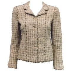 Chanel Spring Tweed Check Jacket With Fringe Trim