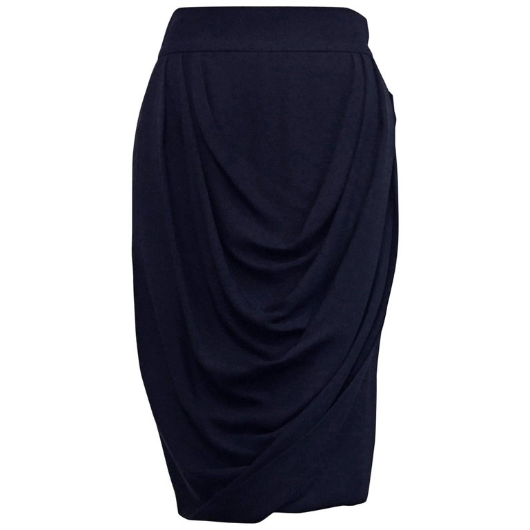 Chanel Black Silk Crepe Straight Skirt With Draped Front