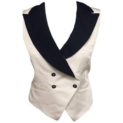 Chanel Champagne Tuxedo Style Vest with Black Collar and Four Chanel Buttons