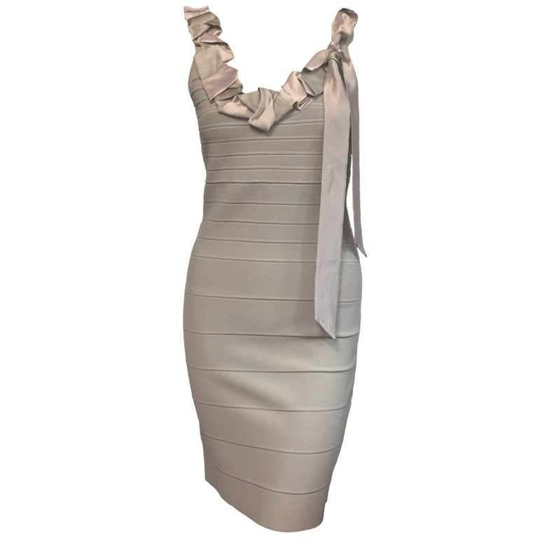 Herve Leger Grey Bandage Dress Decorated With Grey & Lavender Silk Ties