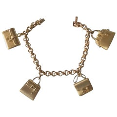 Hermes La Ronde Des Sacs 2 Bags Charms Gold Bracelet